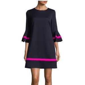 Eliza J Quilted Flare Sleeve Colorbock Dress - 6P